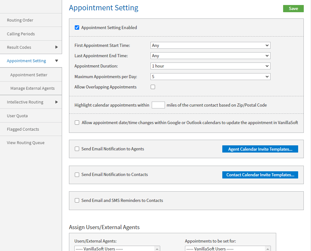 Figure 13 - Appointment Setting options